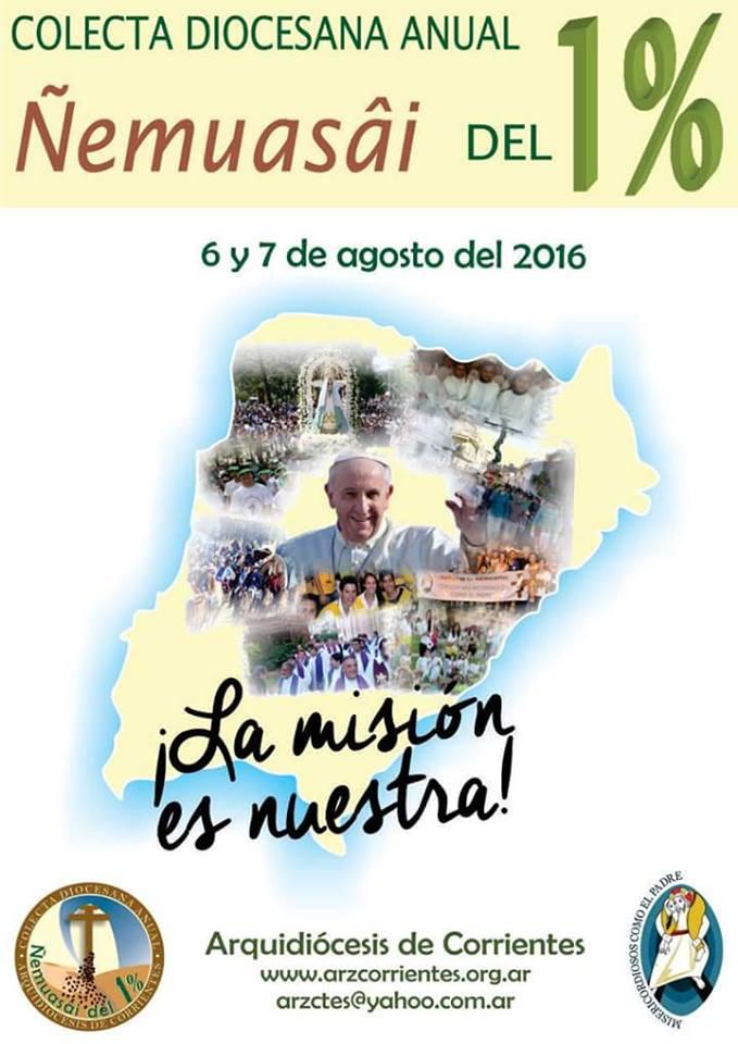 SABADO 6 Y DOMINGO 7: Se realizará en toda la Arquidiócesis la Colecta Ñemuasâi del 1%